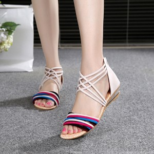 Strappy Multicolor Beige Contrast Sandals