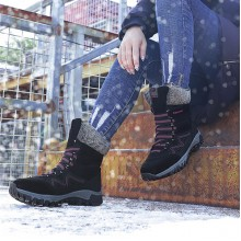 Winter Wear Non Slip Laced Up Vintage Snow Boots - Black
