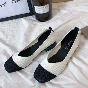Mesh Canvas Flat Wear Formal Shoes - White