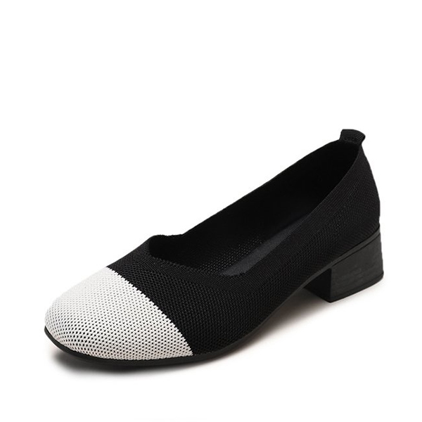 Mesh Canvas Flat Wear Formal Shoes - Black