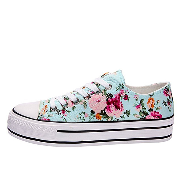 Floral Print Canvas Sneakers Lace Up Casual Shoes Sky Blue