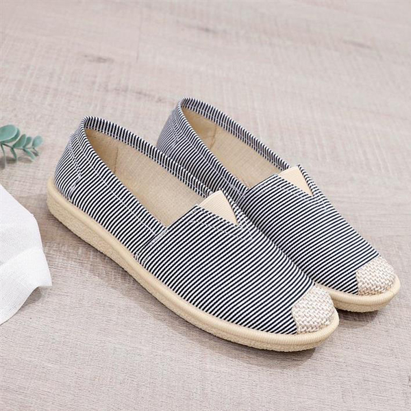 Canvas Patched Stripes Flat Sole Sneakers