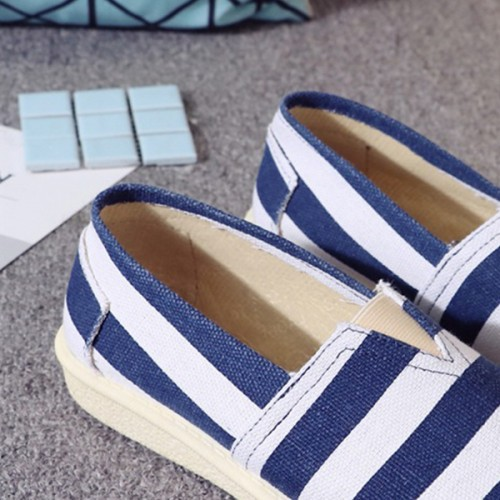 Flat Canvas Casual Wear Shoes - Blue Stripes