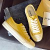 Lace Flat Casual Wear Flat Sneakers - Yellow
