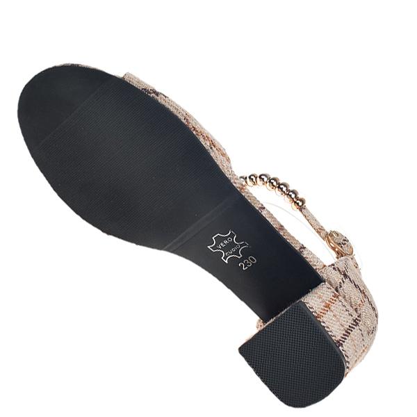 Checks Printed Khaki Square Heel Sandals