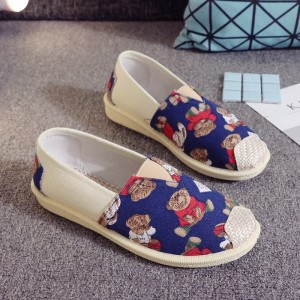 Boho Prints Casual Wear Flat Canvas Shoes - Blue