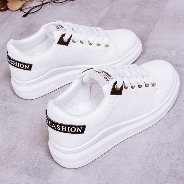 Thick Bottom Lace-up Running Casual Shoes - White