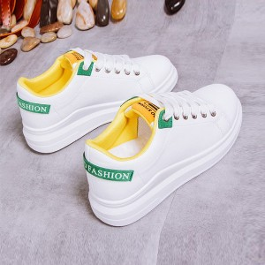 Thick Bottom Lace-up Running Casual Shoes - Yellow