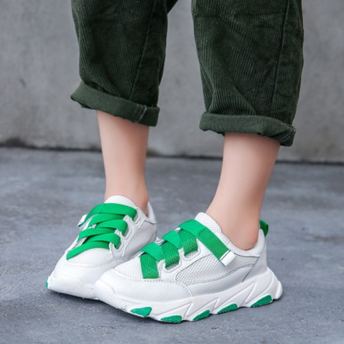 Ribbon Soft Base Kids And Girls Casual Sneakers - Green