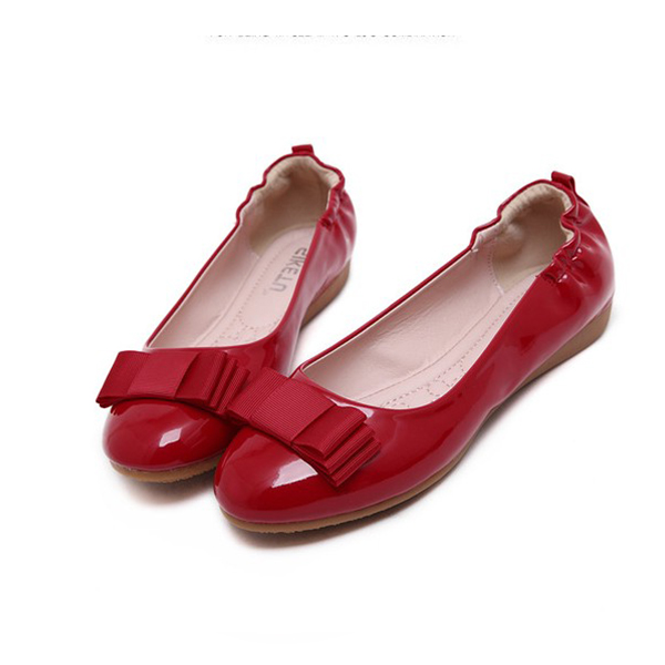 Latest Fashion Round Toe Woman Flat Casual Sheos Red
