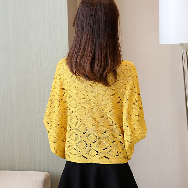 Loose Wear Net Summer Outwear T-Shirt - Yellow