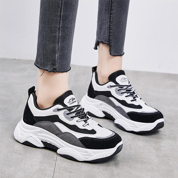 Shallow Mouth Contrast Thick Bottom Sports Shoes - Gray