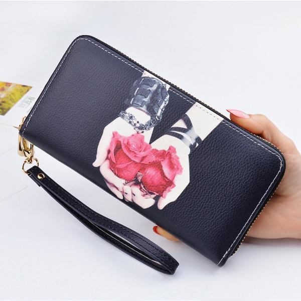 Digital Prints Zipper Closure Money Wristlet - Black