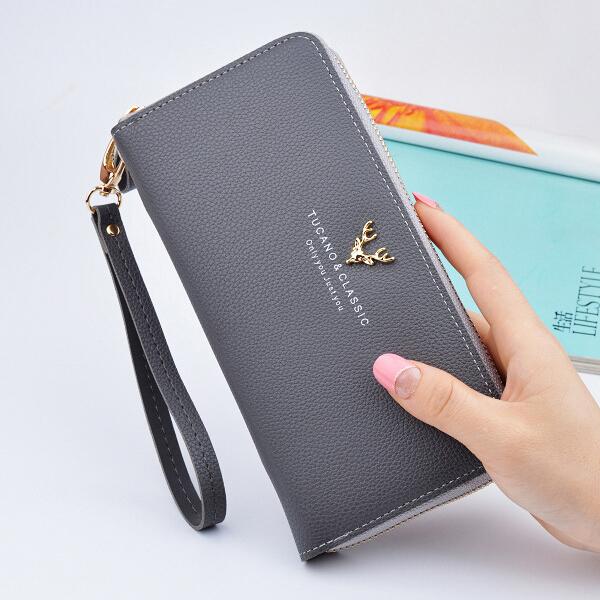 Multi Pockets Money And Mobile Wristlet - Grey