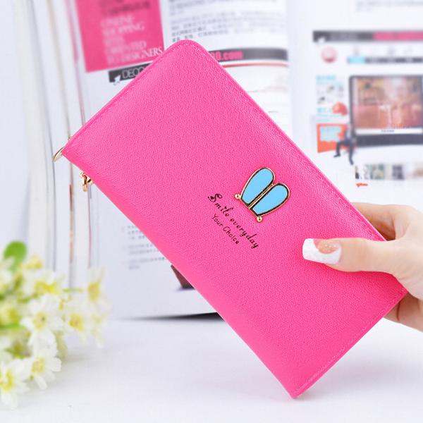 Shiny PU Leather Zipper Wristlet - Hot Pink