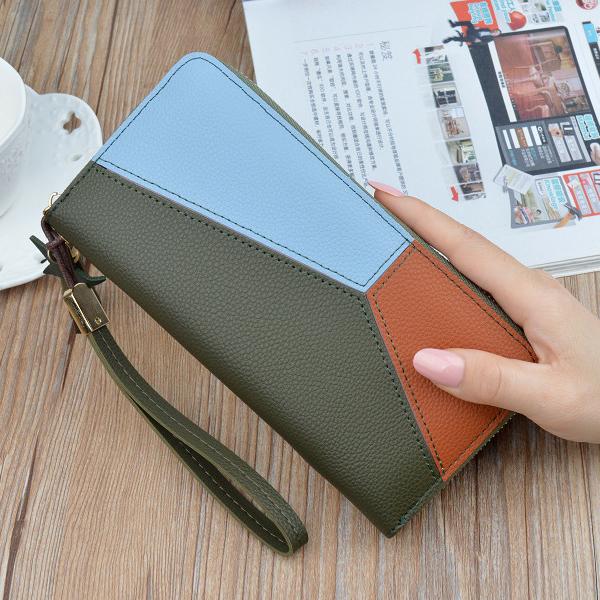 Contrast Patchwork Zipper Money Wristlet - Green