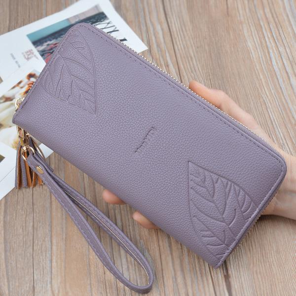 Pattern Textured PU Leather Tassel Wristlet - Purple