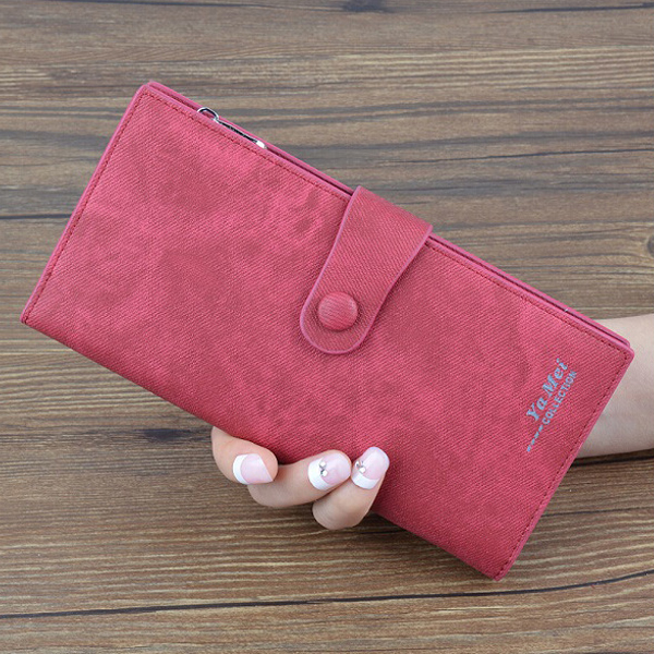Denim Pattern Button Closure Foldable Wallet - Red