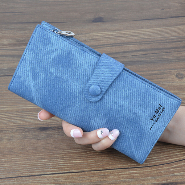 Denim Pattern Button Closure Foldable Wallet - Blue