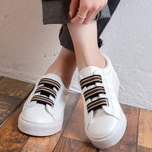 Strappy White Flat Casual Shoes