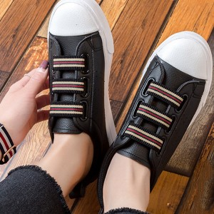 Strappy Black Flat Casual Shoes