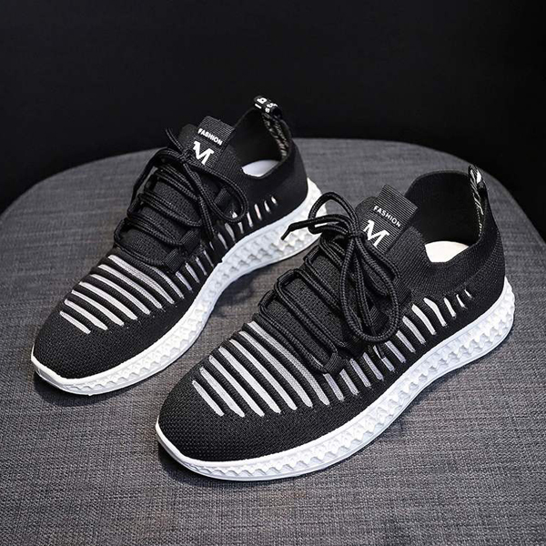 Laced Mesh Pattern Sports Running Sneakers - Black