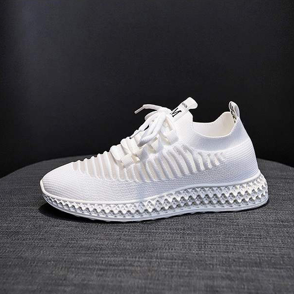 Laced Mesh Pattern Sports Running Sneakers - White