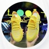 Laced Mesh Pattern Sports Running Sneakers - Yellow