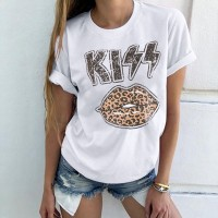 Kiss Lips Graphical Printed Casual Wear Summer T-Shirt - White