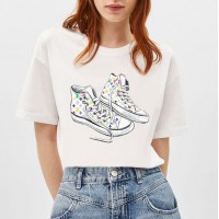 Shoes Prints Casual Round Neck Summer Women T-Shirt - White