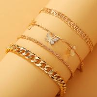 Flour Layered Butterfly Fashion Gold Plated Women Bracelets - Golden