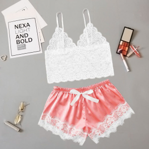 Strap Shoulder Laced Waist Elastic Shorts With Bra Top - Rose Pink