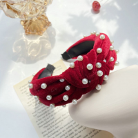 Knotted Fashion Pearls Lace Decorated Hairband - Red