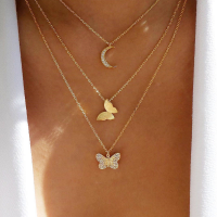 Star Moon Butterfly Design Multi Layered Necklaces - Golden