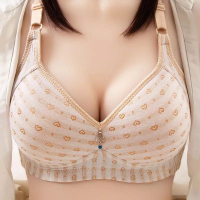 Heart Prints Padded Casual Wear Comfy Bra - Skin Color