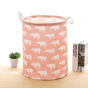 Flamingo Printed Round Fancy Save Space Laundry Storage Basket - Pink