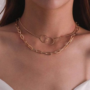 Braid Design Multi Layered Clavicle Chain For Women - Golden