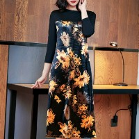 Floral Printed Round Neck Quarter Sleeves Midi Dress - Yellow