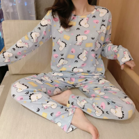 Cartoon Printed Round Neck Full Sleeves Pajama Nightwear Suit - Gray