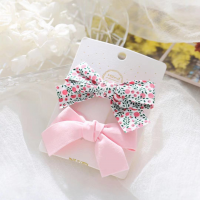 Floral Printed Two Pieces Bow Two Pieces Clips - Pink