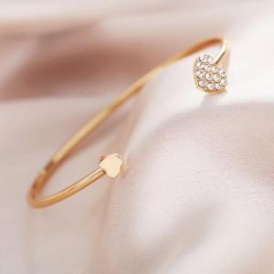 Decorative Heart Crystals Gold Plated Bracelet Bangle - Golden