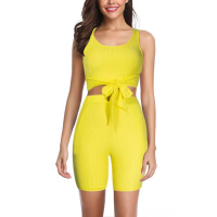 Two PIeces Sexy Fitted Women Fashion Suit - Yellow