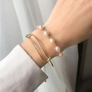 Pearl Decorative Two Layered Women Fashion Bracelet - Golden