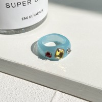 Crystals Patched Boho Style Fancy Rings - Blue