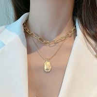 Silver Plated Hook Closure Women Fashion Necklace - Golden