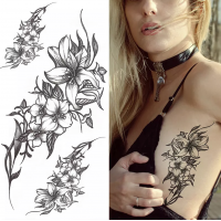 Floral Printed Easy Moisture Applicable Tattoo - Design XXI