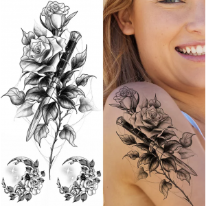 Floral Printed Easy Moisture Applicable Tattoo - Design XXVII
