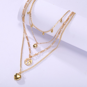 Gold Plated Multi Layered Fashion Necklace - Golden