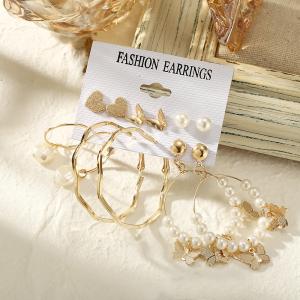 Pearl Decorative Six Pairs Women Fashion Earrings Set