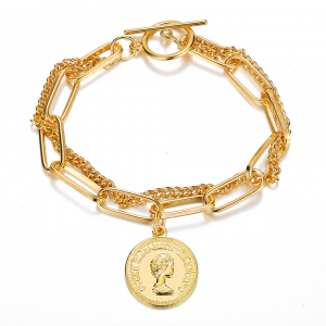 Gold Plated Multi Layered Coin Pendant Bracelets - Golden